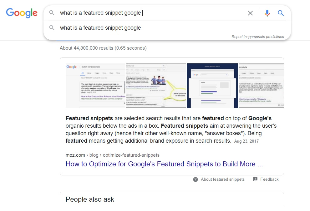 what is a featured snippet google